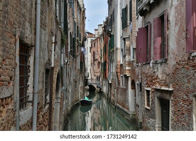 Typical houses along a canal in Venice, Italy