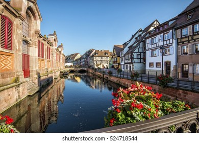 typical houses in Alsace overlooking the river