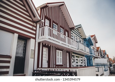 Typical houses of Aveiro, detail of house on the beach, tourism in Portugal