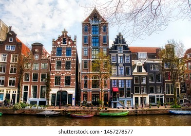 Typical Houses by the Herengracht Canal, near the Golden Bend, Amsterdam, Holland