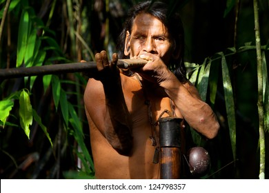 Typical Huaorani Hunter Portrait Waorani Reserve Yasuni National Park Ecuador Shoot In The Jungle In Ambient Lights