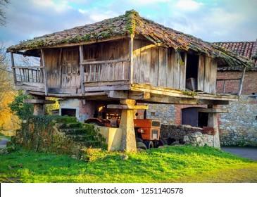 Hórreo (typical hut in Asturias) in Nava, Asturias, Spain