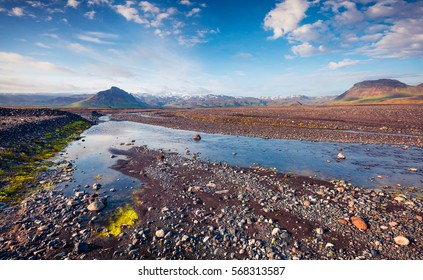Typical Icelandic landscape with pure water river in the June. Sunny summer morning in the south coast of Iceland, Vik village location, Europe. Artistic style post processed photo.