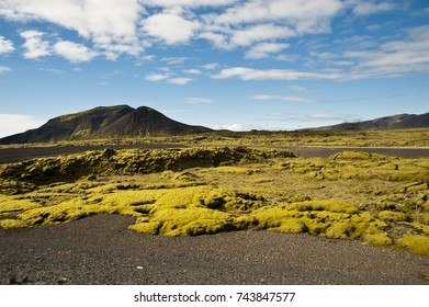 Typical Icelandic landscape, a wild nature of rocks and shrubs, rivers and lakes.