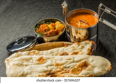 Typical Indian curry lunch