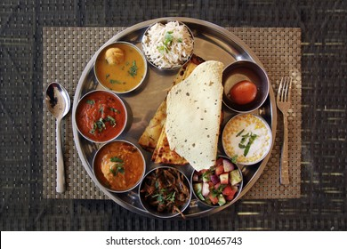 Typical indian food from Jaipur - thali rajasthani