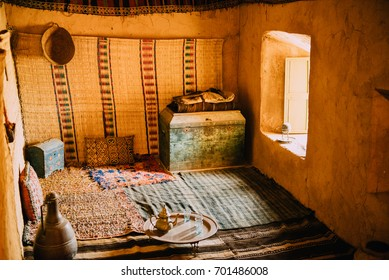 Typical interior in the village of Berbers in Morocco