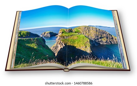 Typical Irish landscape with suspended bridge on cliffs (Northern Ireland - United Kingdom - Carrick a Rede) - 3D render of an open photo album