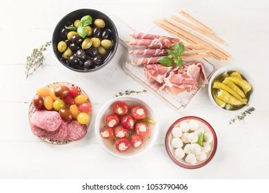 Typical italian antipasto. Mixed antipasto platter. Traditional Italian food.