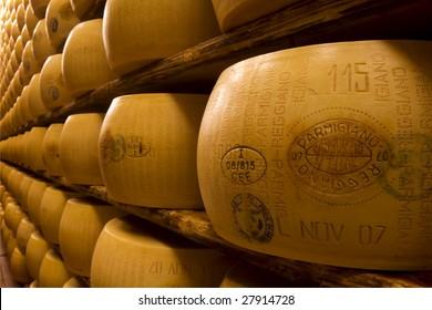 Typical italian cheese Parmigiano Reggiano (parmesan)