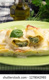 Typical Italian food: Cannelloni stuffed with  ricotta cheese and spinach