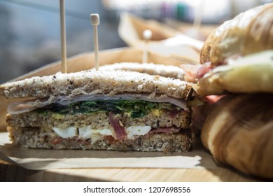 Typical Italian sandwich called Tramezzino of Turin origin, term coined by the writer Gabriele D'Annunzio. The most common recipe is cold, but there is also the heated variant Turin Italy January 2018