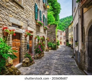typical Italian street in a small provincial town of Tuscan, Italy, Europe