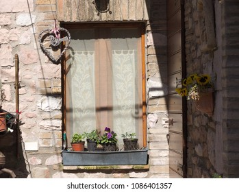 Typical italian window (Collepino, Umbria, Italy)