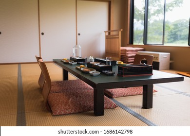 Typical Japanese breakfast served in a Ryokan lodge in Iiyama, Nagano, Japan.