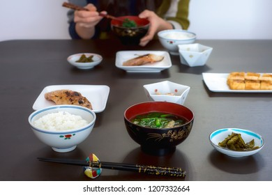 Typical Japanese lunch meal in Yamagata with fish, soup and rice.