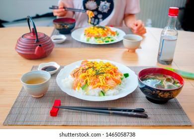 Typical Japanese sushi meal called Chirashi.
