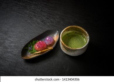 Typical Japanese tea sweets (wagashi)