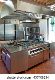 Typical kitchen of a restaurant not in operation