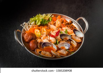 typical Korean seafood hot pot (Jjigae)