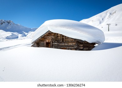 Typical ladin architecture at Ciampac ski area, Penia, Val di Fassa, Dolomites, Italy