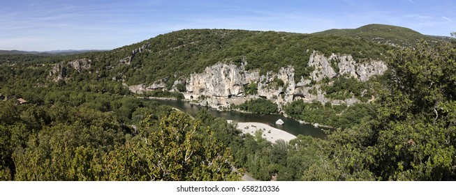 Typical landscape in the Ardeche district, Southern France (panorama shot)