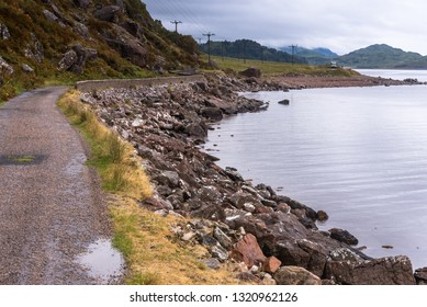 typical landscape with coastal road and motorhome on the Isle of Mull, Inner Hebrides, Scotland, United Kingdom