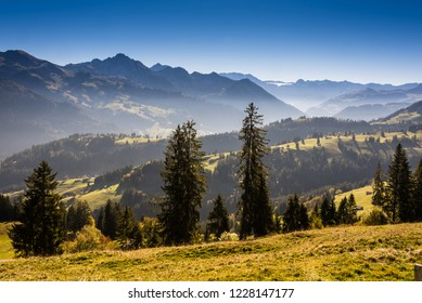 typical landscape in Jaun pass in Simmental, Bernese Oberland, Alps, Switzerland