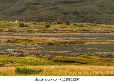 typical landscape on the coast of the Isle of Mull, Inner Hebrides, Scotland, United Kingdom
