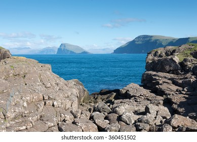 Typical landscape on the Faroe Islands, with view on Hestur as seen from Sandoy