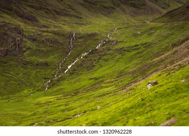 Typical landscape with pastures on the Gaelic peninsula Applecross, Strathcarron, Inner Hebrides, Scotland, UK