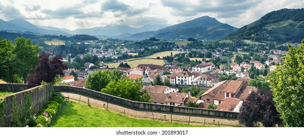 Typical landscape of Pays Basque near Saint Jean Pied de Port in the south of France