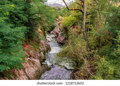 Typical landscape of the Pyrenees on the river Ax-les-Thermes near the village of the same name and the border with Andorra. Ariege France
