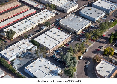 Typical light industrial and small business offices viewed from above