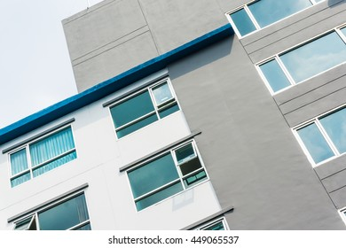 Typical lowrise apartment building in urban area, Balconies of residential building