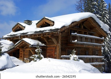 Typical luxurious chalet in a French ski resort.