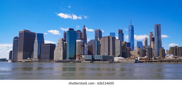 Typical Manhattan New York Skyline - view from Hudson River- MANHATTAN / NEW YORK - APRIL 1, 2017