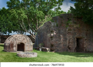 Typical Mayan steam bath (Temazcal) next to a ruined building in Mexico.