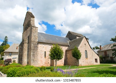 Typical Medieval church in French village in Limousin