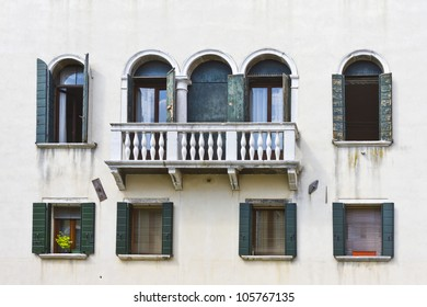 A typical Mediterranean architecture of the Venetian balconies. Venice, Italy, Europe