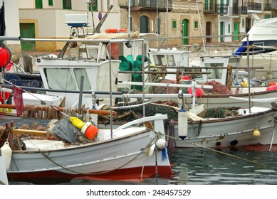 Typical mediterranean fisher boats in Porto Colom (Spain)