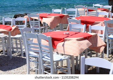 Typical mediterranean restaurant tables on seaside