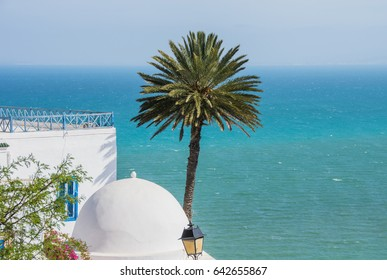 A typical Mediterranean view in Sidi Bou Said, a town full of charm on the coast just a few miles from Tunis, Tunisia.