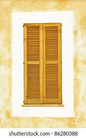 Typical mediterranean wooden window in Majorca (Balearic Islands - Spain)