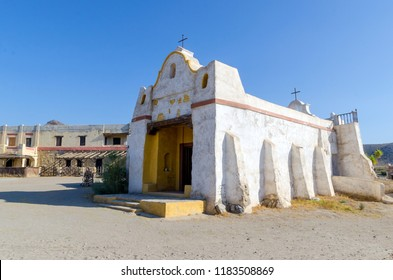 typical mexican church in fort bravo film set. Tabernas desert, almeria, spain