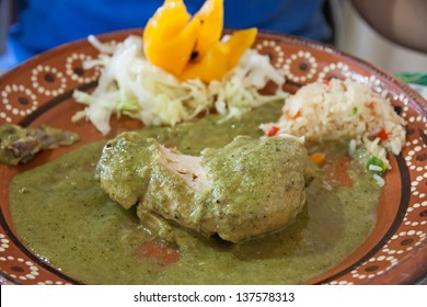 A typical mexican dish of chicken with mole verde