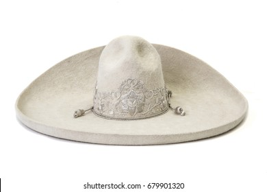 Typical mexican ranchero hat on white background