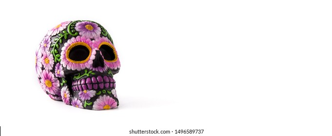 Typical Mexican skull painted isolated on white background. Panorama view.  Dia de los muertos.