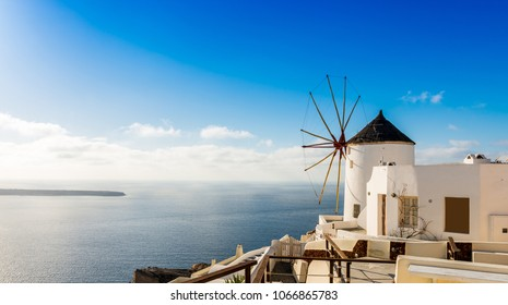 typical mill of Oia on the island of Santorini in the Cyclades in Greece