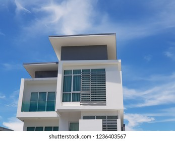 Typical modern house in Malaysia with blue sky backgroind